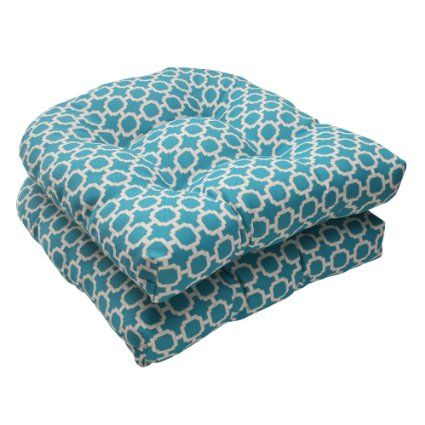 Pillow Perfect Indoor Outdoor Hockley Wicker Seat Cushion Teal Set Of 2
