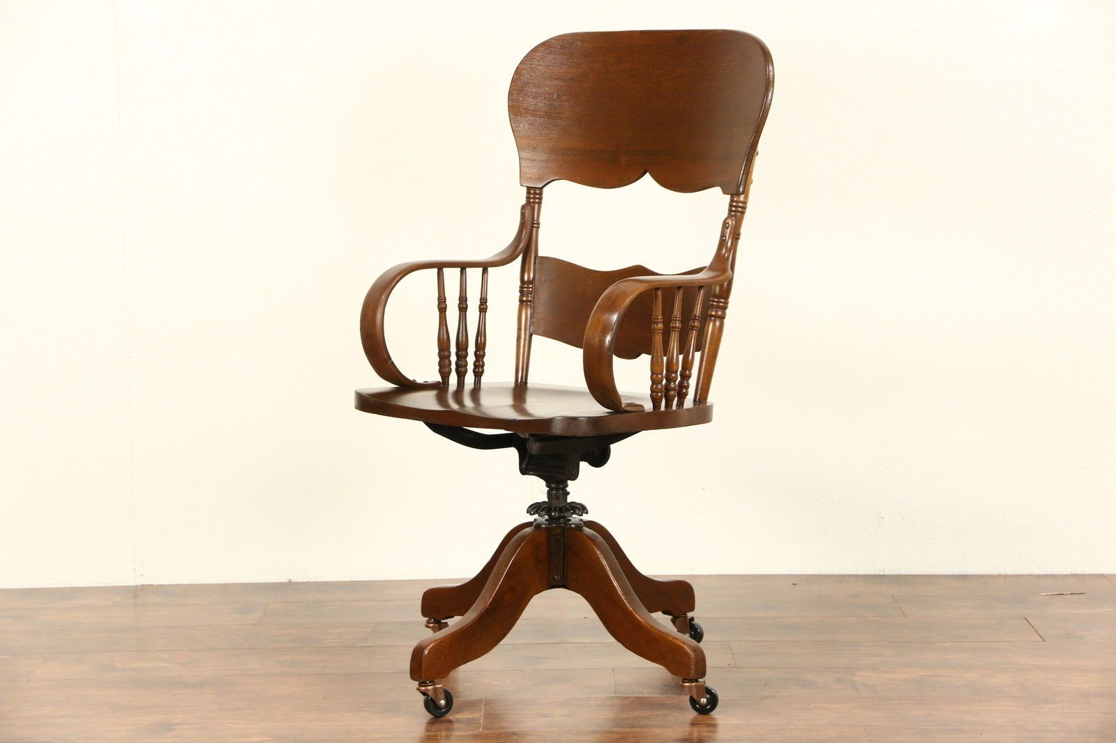 A Tall Victorian 1900 Era Swivel Desk Chair Was Made For A Tall Person.  Solid Oak And Ash, This Antique American Made Armchair Is Completely.
