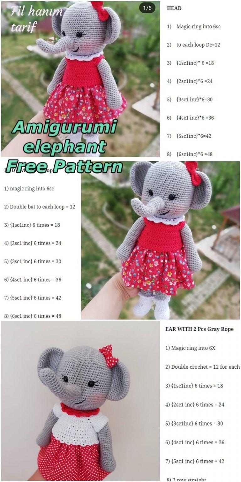 Amigurumi Female Elephant Free Crochet Pattern - Crochet msa plus