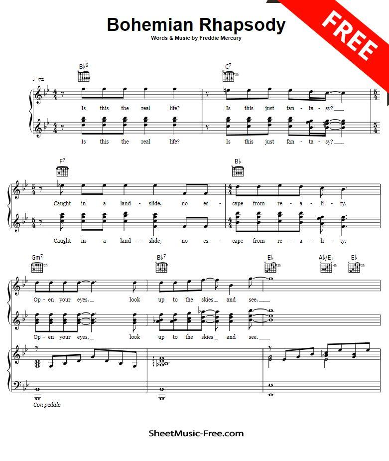 Bohemian Rhapsody Sheet Music Queen With Images Sheet Music
