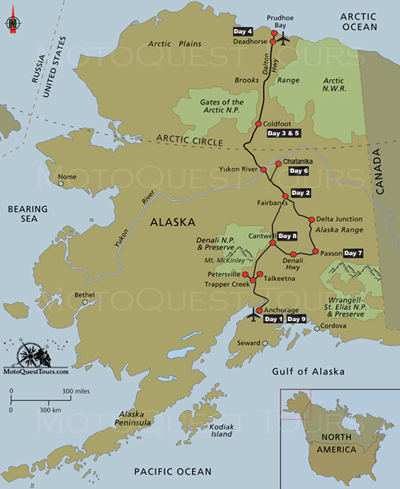 Prudhoe Bay Alaska Map.Pin By Motoquest On Alaska Prudhoe Bay Motorcycle Adventure