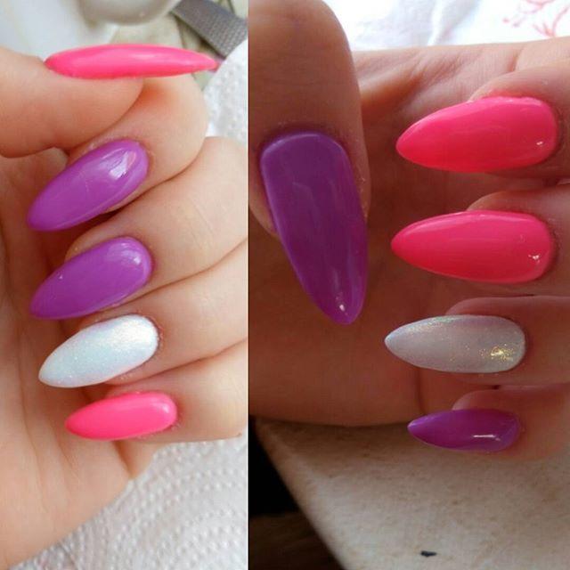 #hybridnails #hybryda #kolorki #pink #fiolet #syrenka #paznokciehybrydowe #paznokcie