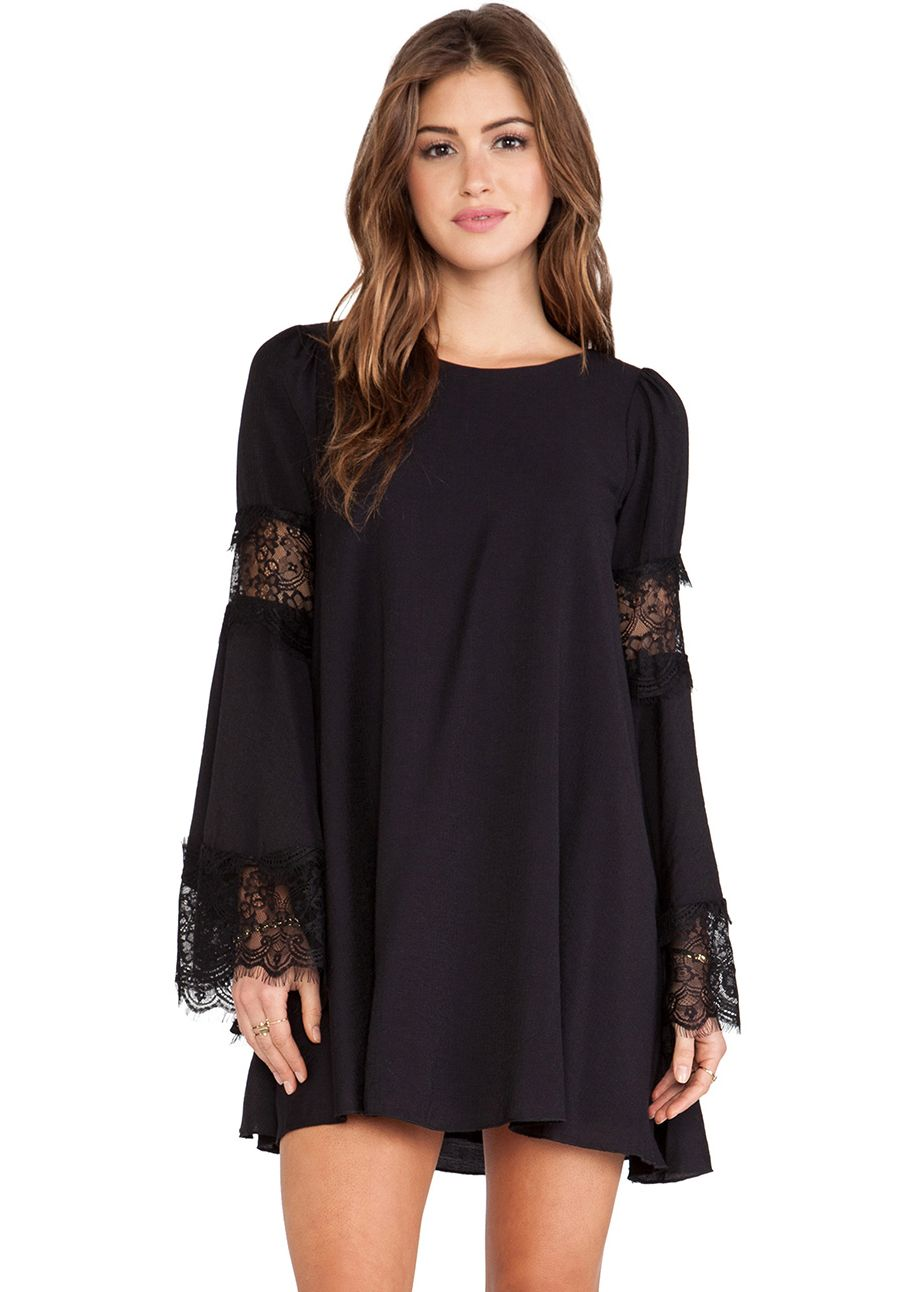 f9c3ce3de6 Black Lace Long Sleeve Loose Dress 15.67