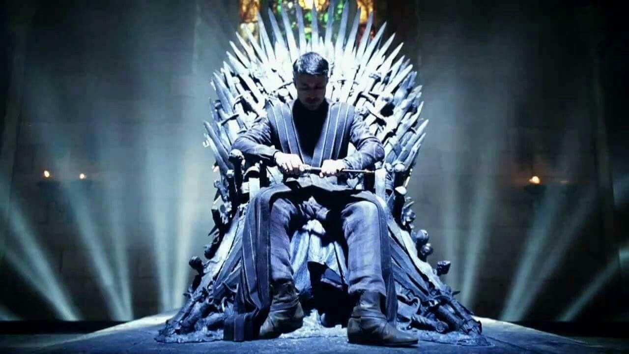 Petyr Baelish on the iron throne, soooo badaaass