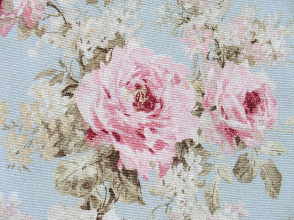 Romantik Rosen Deko Stoff Shabby Landhaus Rosenstoff Rosa Hellblau Bezugstoff