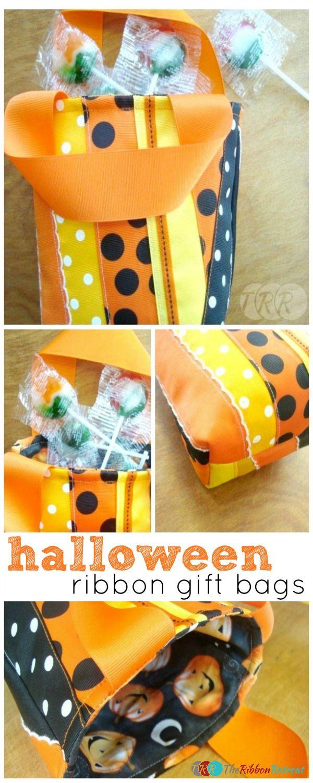Halloween Ribbon Gift Bag - The Ribbon Retreat Blog - use up those ribbon scraps. Sewing skills required.