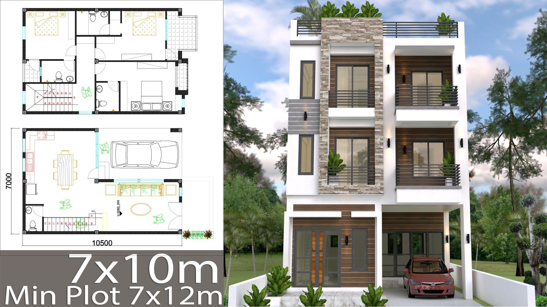 Home Design Plan 7x10m With 6 Bedrooms Samphoas Plan Modern House Plans Home Design Plan House Layout Plans