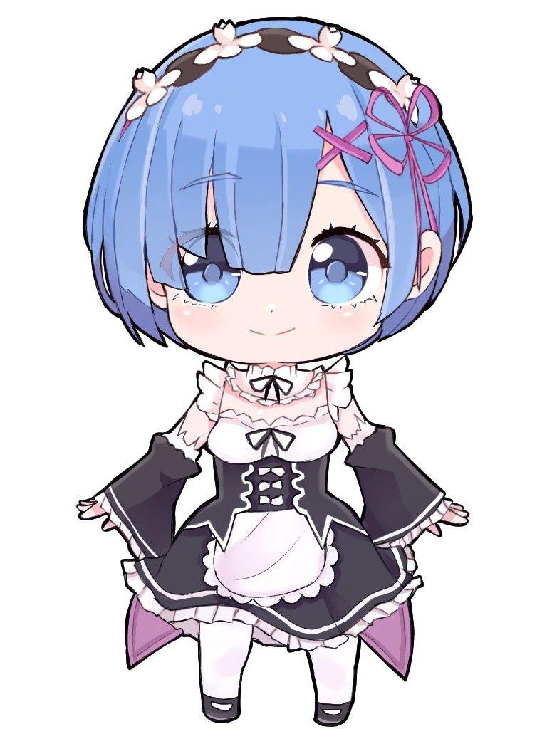 Chibi Rem Re Zero Png Gambar Karakter Animasi Ilustrasi