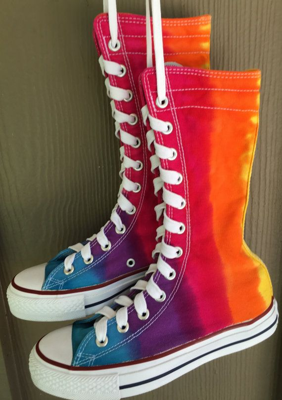 abbe8b97102fd Rainbow Tie Dye Converse High Tops Sneakers   Boots - rainbow bright  colorful hippie design makes