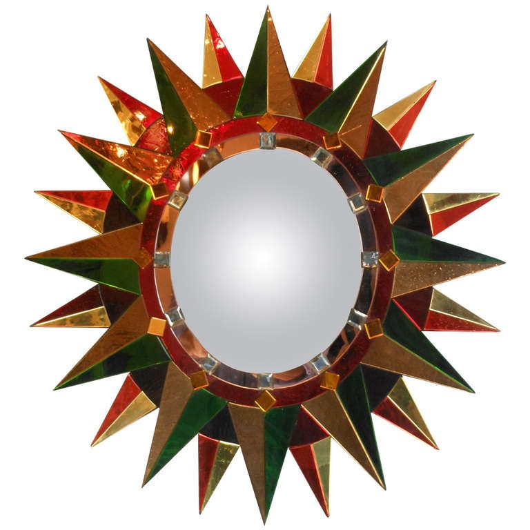 French Oval Polychrome Sunburst Mirror