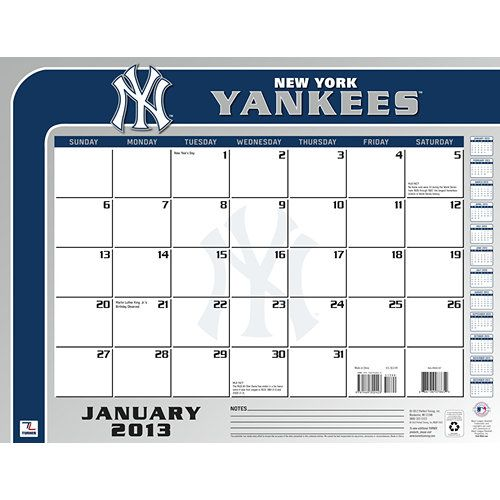 New York Yankees Desk Pad: The 2013 New York Yankees Desk Pad Calendar is perfect for the fan that needs to keep dates and appointments close at hand while at their home or office desk.  $13.99  http://calendars.com/New-York-Yankees/New-York-Yankees-2013-Desk-Pad/prod201300001368/?categoryId=cat00434=cat00434#