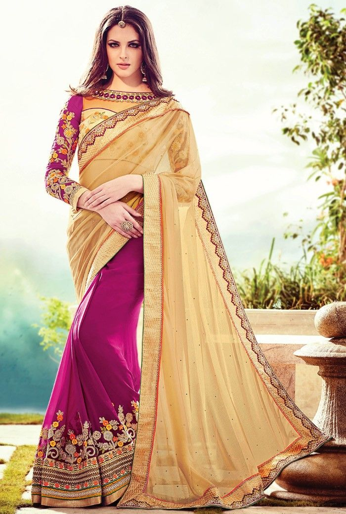 2619d2aa028a8 Magenta Georgette Saree with Blouse -  Indiandesignersaree