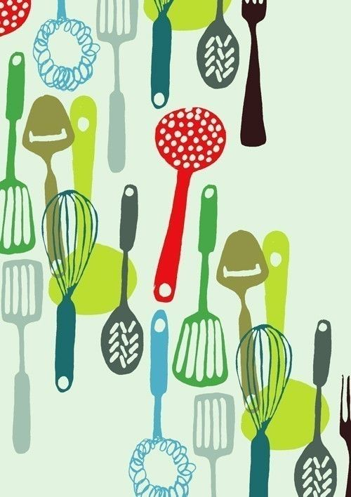 Kitchen Utensils Wallpaper kitchen utensils - limited edition hand printed screen print