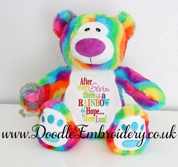 Personalised rainbow teddy bear embroidered new baby gift personalised rainbow teddy bear embroidered new baby gift rainbow baby after every negle Gallery