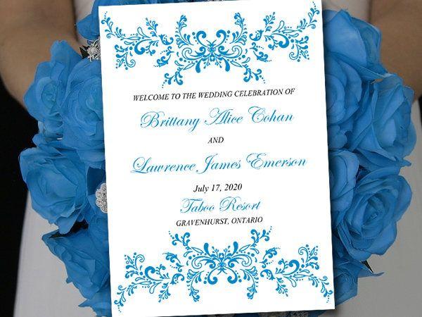 Cornflower Wedding Program Template Fold Over Alice Booklet