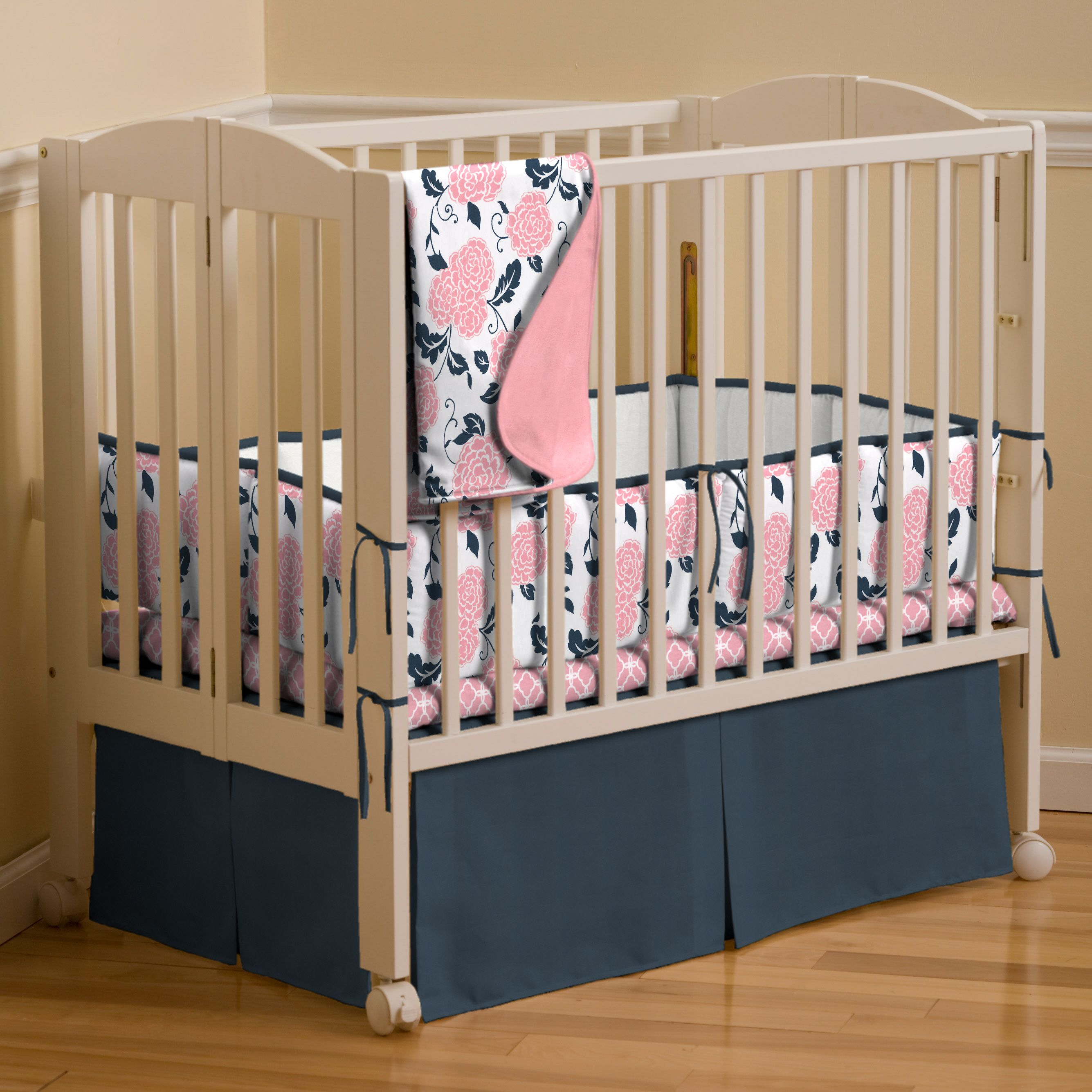 Navy and coral crib bedding Baby stuff Pinterest