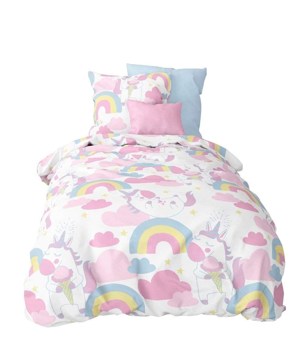 Aminata Kids Süsse Bettwäsche Für Einhorn Fans Kinder Bettwäsche