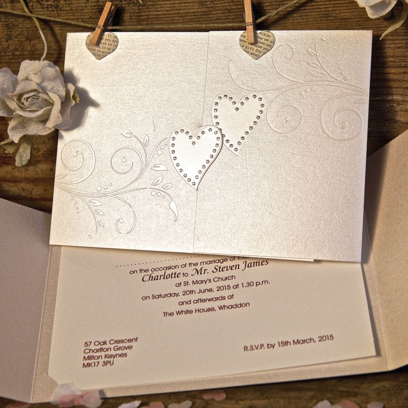 Sparkling Hearts And Swirling Fl Pattern Feature On These Matching Evening Invitations Your Inside Details