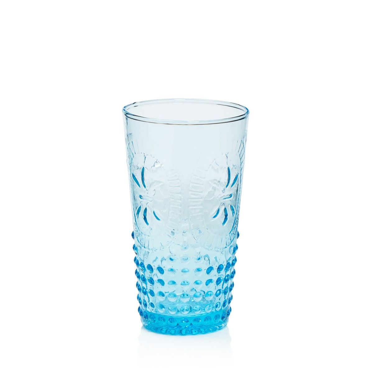 This luminous blue mouthblown glassware was crafted by Home ...