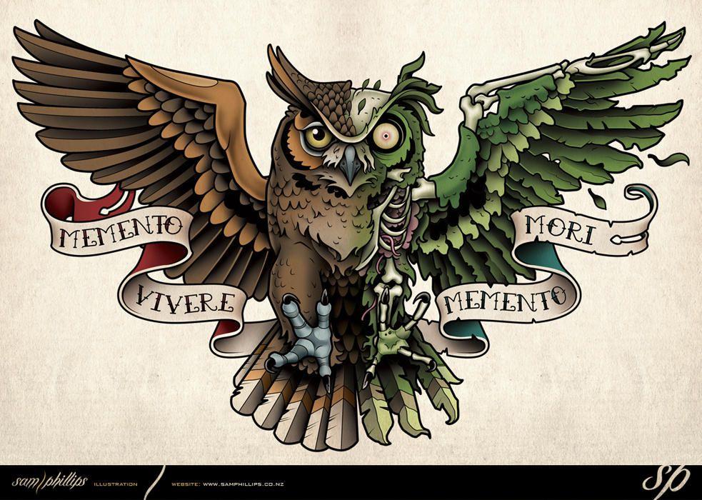 Zombie Owl Tattoo By Https Www Deviantart Com Sam Phillips Nz On Deviantart Owl Tattoo Design Owl Tattoo Chest Zombie Tattoos