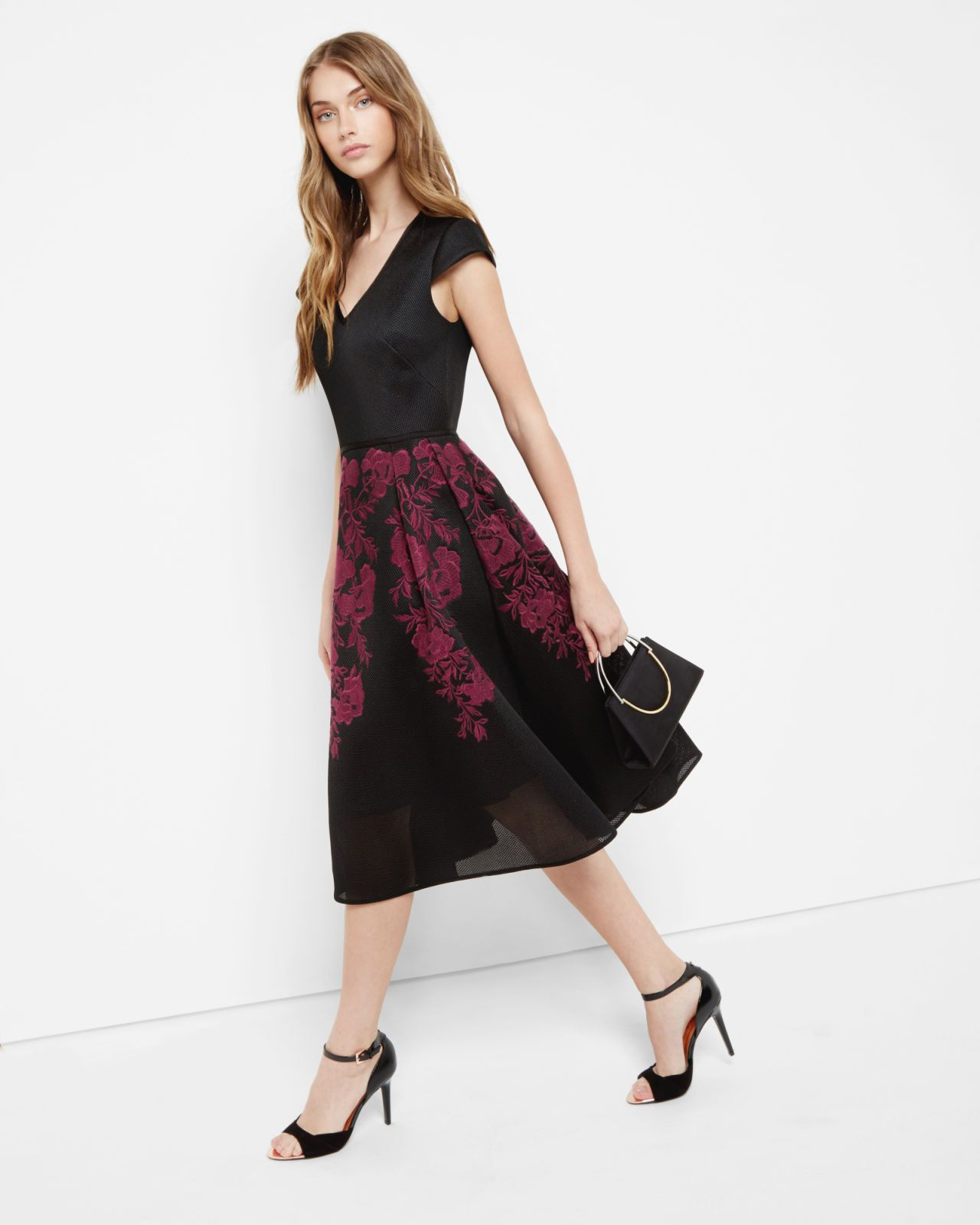 Embroidered mesh midi dress - Dark Red | Dresses | Ted Baker UK