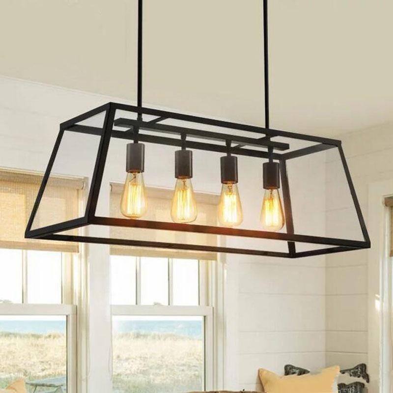 Retro Rustic Wrought Iron Black Chandelier Light Rectangle Loft Pendant Lamp Vintage I Pendant Lighting Dining Room Modern Ceiling Light Rectangular Chandelier