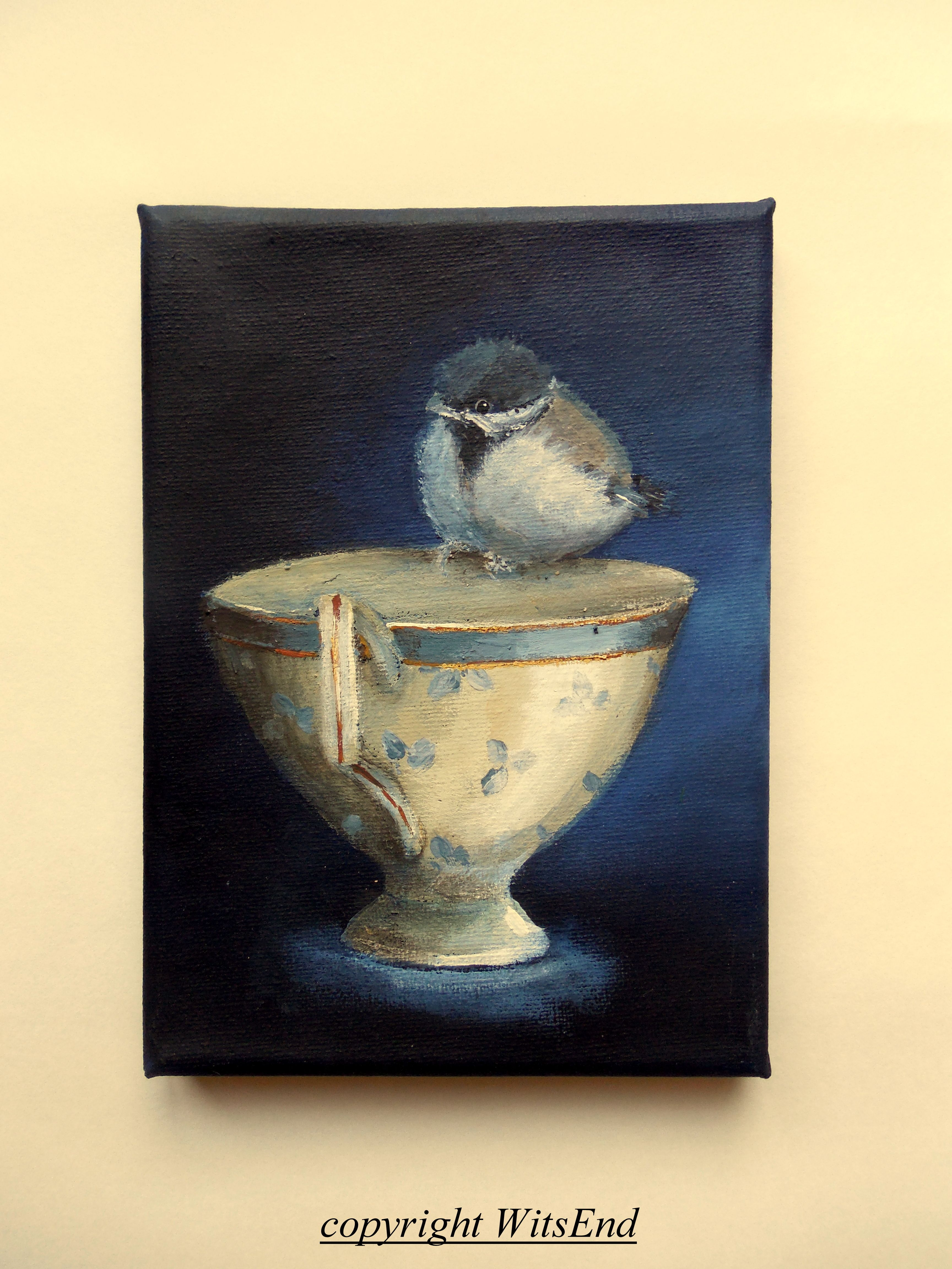 'CHICKADEE'S TEA'  (9th in series 'little birds tea'.) by WitsEnd, via Etsy
