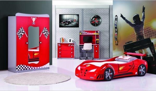 Das 3 teilige Kinderzimmer Redcar, mit Autobett, Schrank und ...