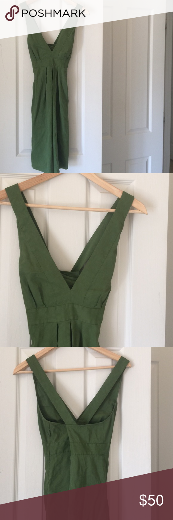 Theory Linen dress! Amazing miss colored green Theory dress! 62% linen rest is stretch! Side zip and pockets! Perfect for summer falls to the knee and has a criss cross back! Please note small tear by zipper hardly noticeable does not effect zipping or closing the dress ( shown in photos) has lots of life left for this dress! Theory Dresses Midi