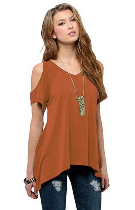 f5a27c21b0291 Relipop Women Hollow Out Casual Shirt Short Sleeve Off Shoulder Tunic Tops  (X-Large