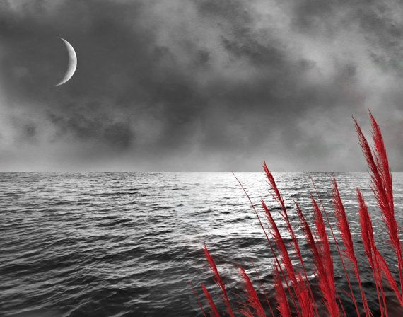 Black white red seascape moon wall art home by littlepiephotoart 18 99