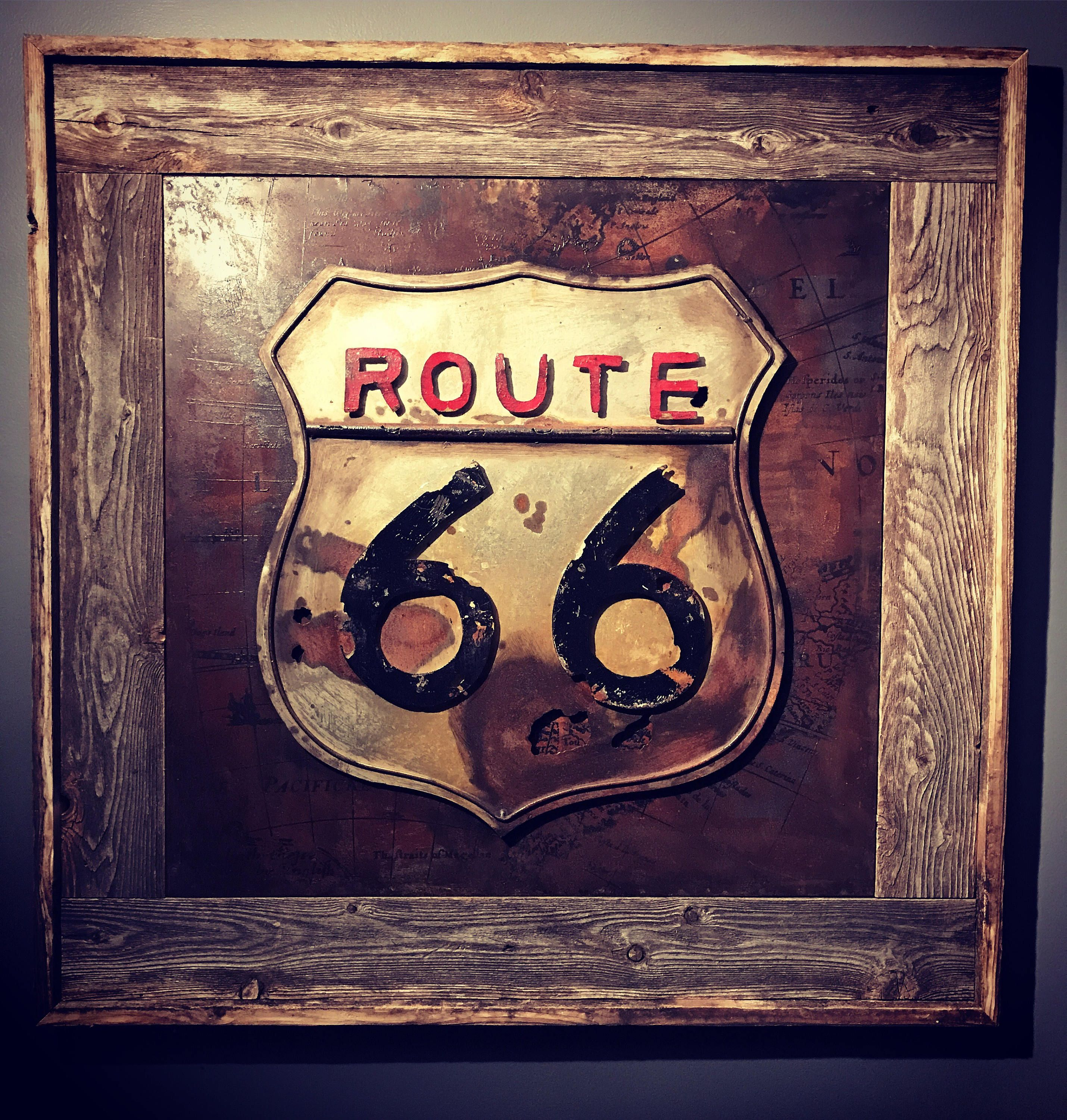 Reclaimed Frame Rustic Route 66 Tin Sign Rusted Route 66 Sign