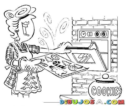 Dibujo De Mama Horneando Galletitas Para Pintar Y Colorear ...