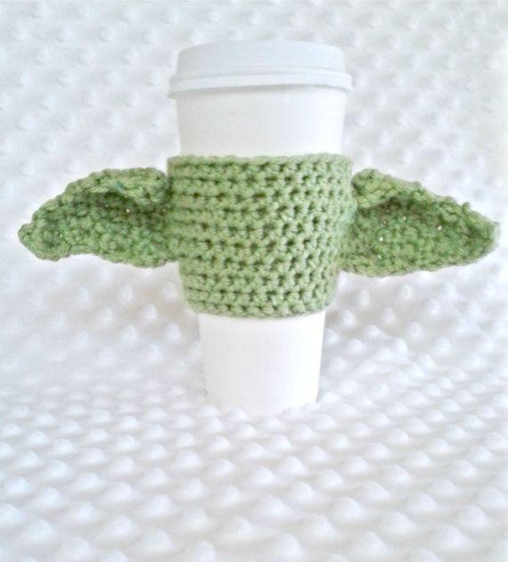 Yoda inspired cup cozy coffee cozy Star Wars by Knerdy4Knitting ...