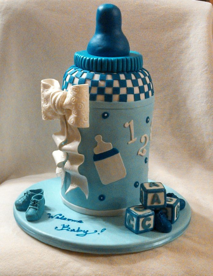 Baby Bottle Cake Chocolate And White Cake With Vanilla Buttercream