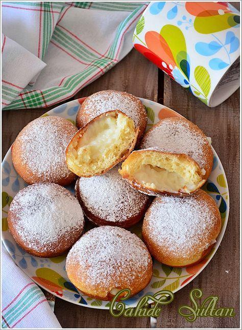 Krema Dolgulu Çörek (Krapfen) #donutcake