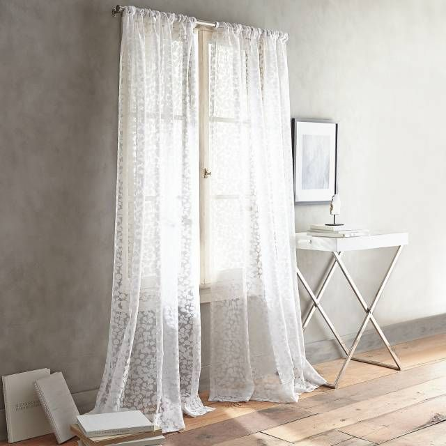 Dkny Halo Rod Pocket Sheer Window Curtain Panel In White Bed