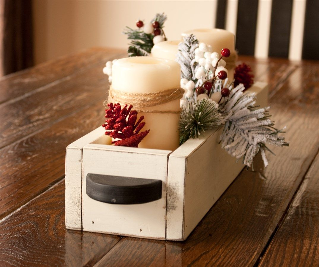 Wooden Table Caddy Centerpiece Box With Handles Table Caddy Wooden Centerpieces Wooden Tables