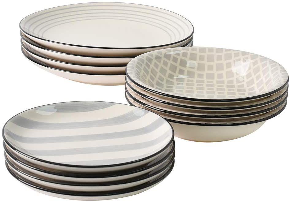 Procook Salcombe Tafelservice Steinzeug 12 Teilig Verschiedene Muster Grau In 2020 Steinzeug Tafelservice Geschirr
