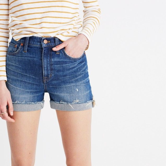 701b7414d76 High-Rise Denim Boyshorts in Glenoaks Wash  Cutoff Edition