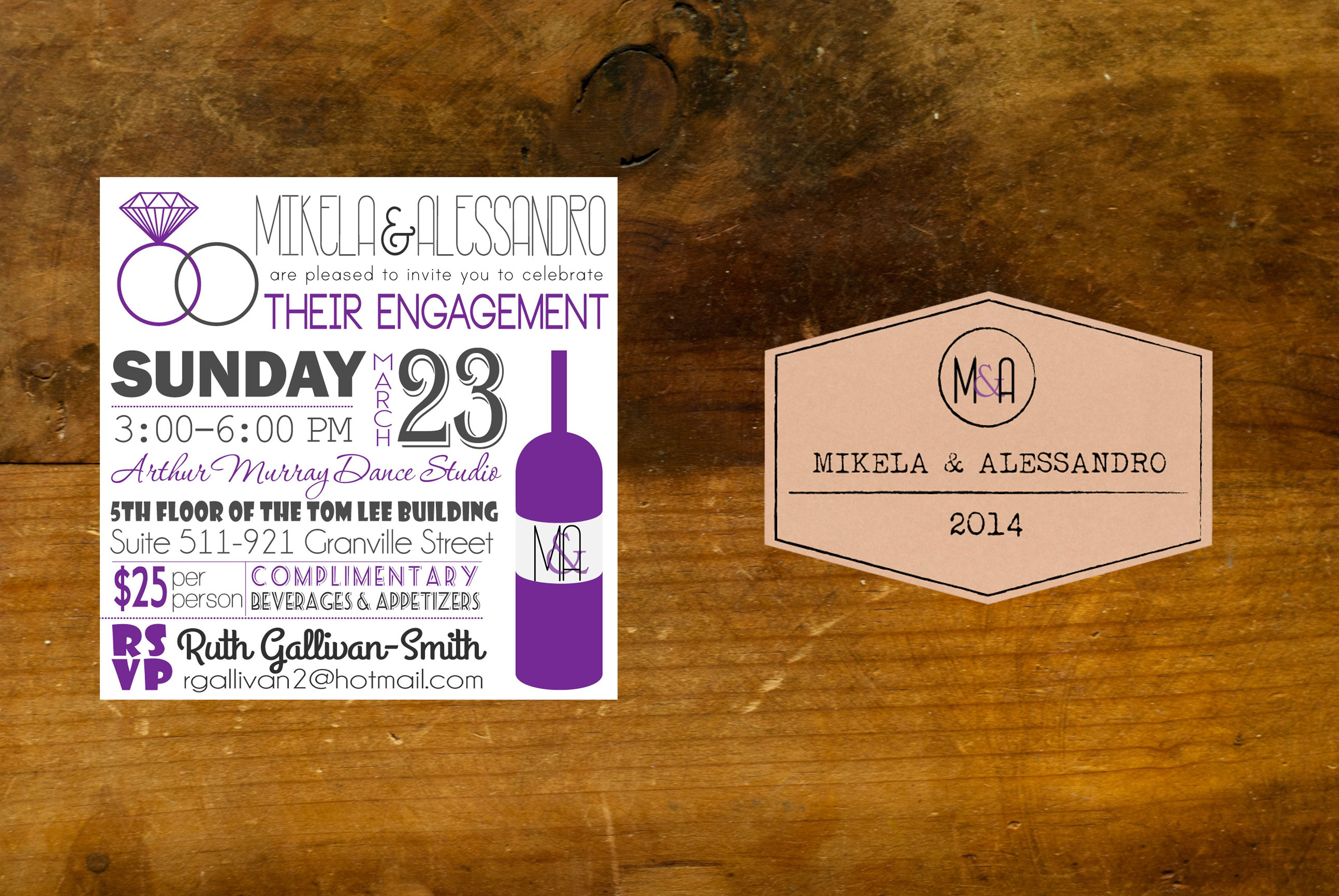 Wine themed engagement party invitation with custom wine label for ...