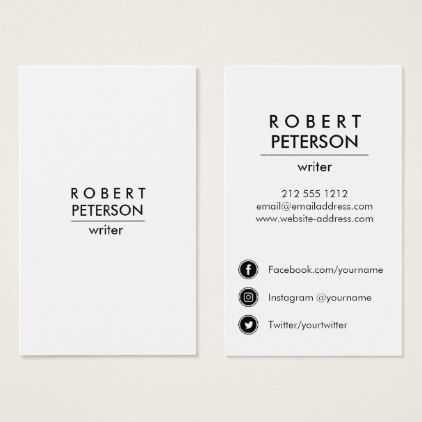 Plain Modern Minimal Social Media Icon Vertical Business Card