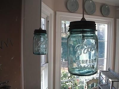 Vintage ball jar light fixtures tutorial this old blue glass jars would look good in my kitchen