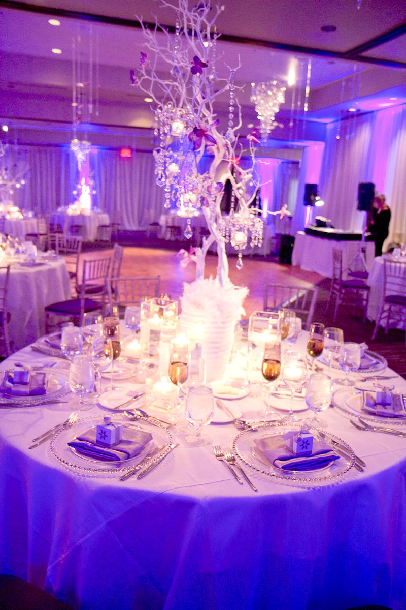 Light blue wedding decoration ideas  Love the center pieces with red silk calla lilies u black not