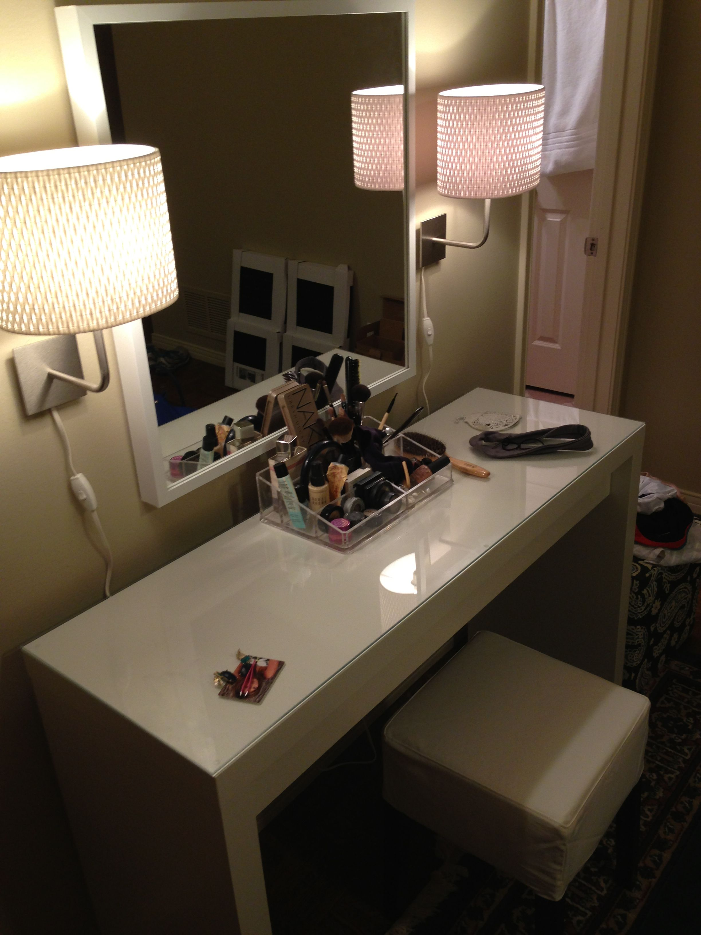 Vanity Done Entirely From Ikea MALM Dressing Table Wwwikea - Container store makeup organizer