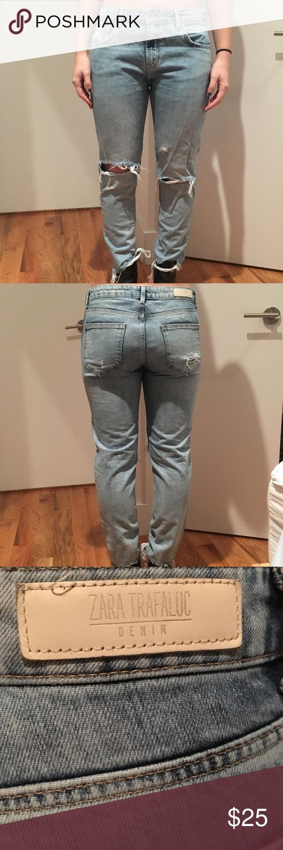 92493311 Zara Trafaluc girlfriend jeans, size 4 (Euro 36) Zara Trafaluc denim  girlfriend jeans Size 4 (European 36) Distressed, lightwash Zara Jeans  Boyfriend