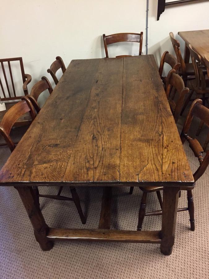Antique French Oak Farmhouse Table Circa 1840 With Centre