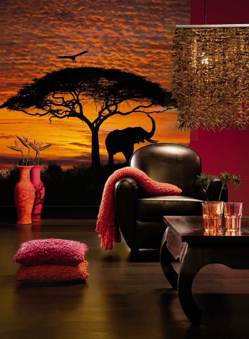 Luxurious sunset elephants silhouette wallpaper for walls