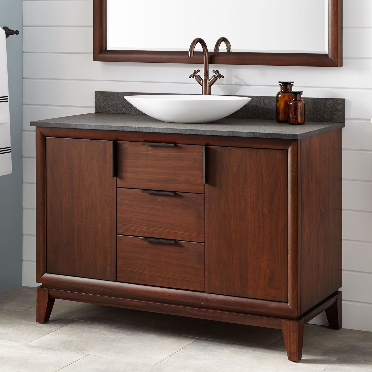 48 Talyn Mahogany Vessel Sink Vanity Light Walnut Bathroom
