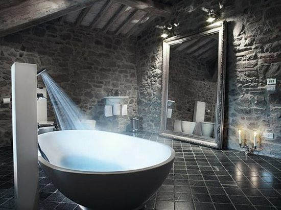Wohnideen Badezimmer Rustikal Steinwand Schwarz Mehr